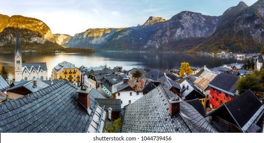 Awesome views of the lake Hallstatter and Hallstatt Lutheran Church. Panorama in Austria Alp at sunrise in Hallstatt. Austria, Salzkammergut, Europe. Top Popular place for photographers and travelers
