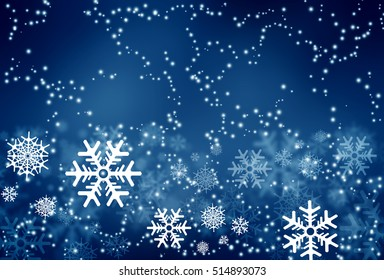Awesome winter texture dark night background. Abstract snowflakes composition. Christmas new year concept.