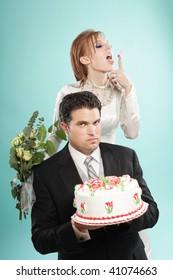 Awkward but funny modern wedding portrait