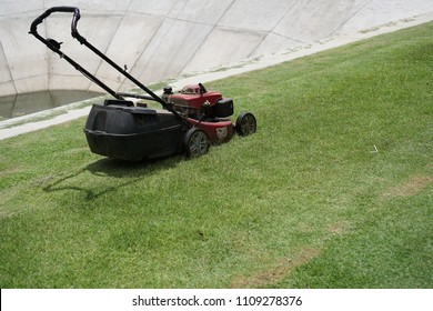 awn mower parked on the lawn