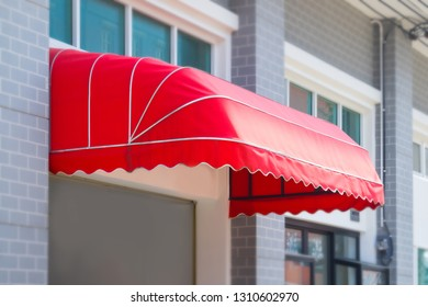 Awning in front of the building