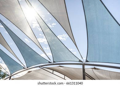 Awning in leaf shape with the blue sky