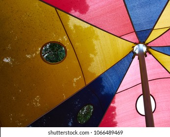 Awning sun shade over bright sunny blue sky great leisure time background image