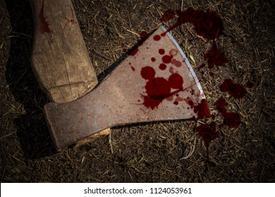 Ax and blood at the crime scene