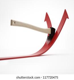 Ax cuts the arrow