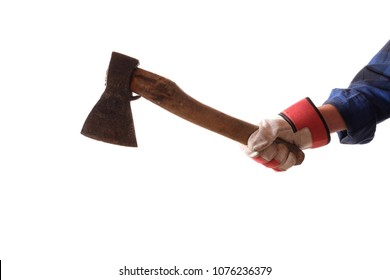An ax in the hand of a lumberjack over white background