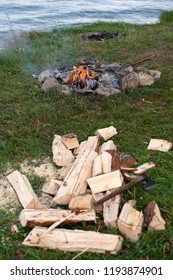Ax and a pile of firewood in front of fireplace