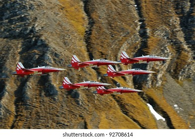 AXALP, SWITZERLAND - OCTOBER 13: Patrouille Suisse during Axalp Swiss Air Force Live Firing Demo on October 13, 2010 in Axalp, Switzerland