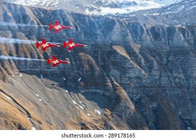 AXALP, SWITZERLAND - OCTORBER 14: The flight demonstration Axalp, an air show of the Swiss Air Force on the shooting range Axalp-Ebenfluh near Interlaken, Switzerland on October 14, 2010.