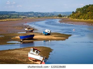 The Axe Estuary at mid tide, Seaton, Devon, England, UK.