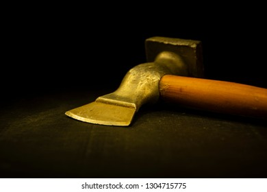 Axe, hammer for cooking, meat. Sharp, metal with wooden handle. Tool for the kitchen.