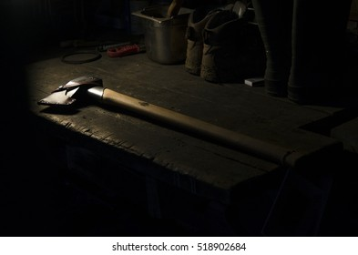 axe on table