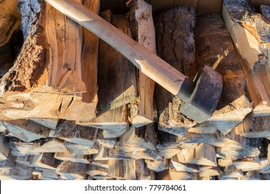 Axe on the wood