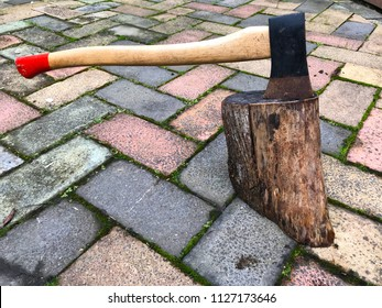 Axe on the wood block