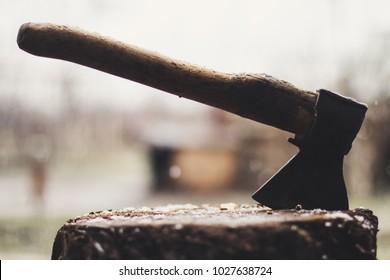 Axe in the stump.