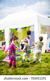 AXMINSTER, DEVON, UK - AUGUST 27, 2017 - Children play at River Cottage's annual music and food festival