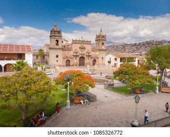 AYACUCHO, PERU: Aerial view of Ayacucho cathedral and main square at afternoon.