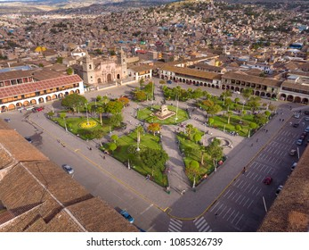 AYACUCHO, PERU: Aerial view of the main square of the city.