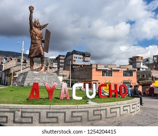 Ayacucho, Peru - Nov 1, 2018: A statue of the Inca King welcomes visitors to the city of Ayacucho, Peru