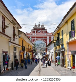 Ayacucho, Peru - Nov 2, 2018: The Arch of Triumph (Arco de Triunfo) in the city of Ayacucho