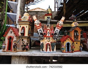Ayacucho, Peru - October 4, 2011 : Souvenir shop shows and sell tradition pottery of rooftops of Quinua near Plaza de Armas in Quinua town