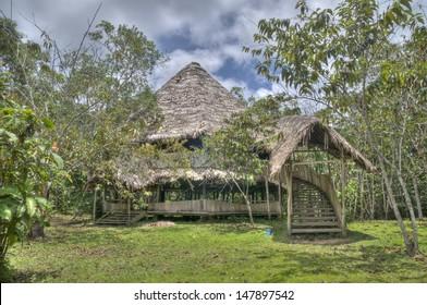 An ayahuasca ceremony house in the Peruvian Amazon.