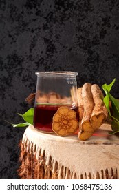 Ayahuasca ingredients and brew. Shamanic entheogen psychoactive plant material.