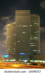 Ayalon Freeway and Azriely center by night