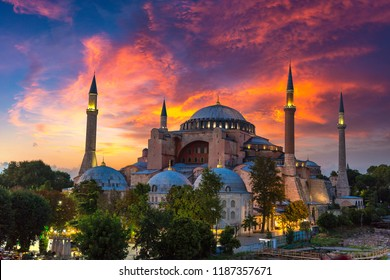 Ayasofya Museum (Hagia Sophia) in Sultan Ahmet park in Istanbul, Turkey in a beautiful summer night