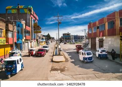 Ayaviri,  Peru -January 6, 2019: Streets of Ayaviri  city in Peru. South America.