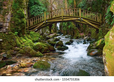 Ayazma National Park in Ida Mountains and streams flowing under the bridge