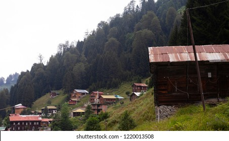 Ayder, Rize, Turkey - August 4, 2014: General landscape view of famous Ayder Plateau in Camlihemsin, Rize. Ayder Plateau has wide meadow area with wooden mountain houses at 1350 meters of height.