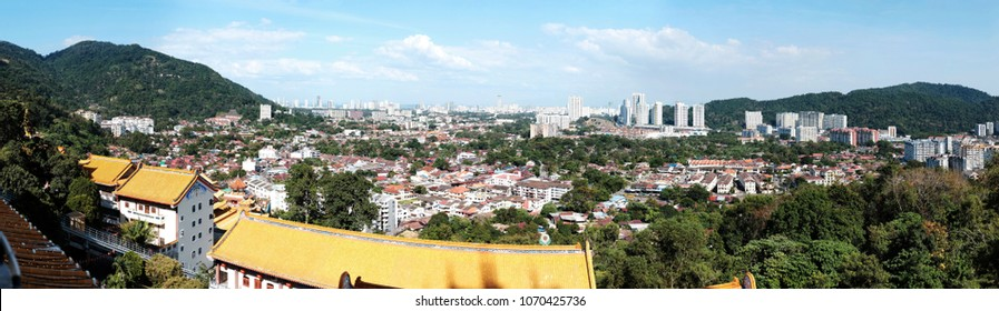 AYER ITAM, PENANG, MALAYSIA - FEB 13, 2018: Panoramic view of George Town city from Kek Los Si Temple hilltop. George Town city in Penang state capital.