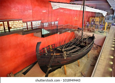 AYIA NAPA, CUPRUS- April 5, 2017. The Kyrenia II ship, an exact replica of an ancient Greek ship of the 4th century BC in Thalassa Municipal Museum.