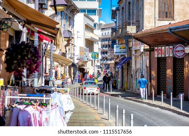 AYIA NAPA, CYPRUS - MARCH 14, 2017: Scenic view of Agiou Andreou street
