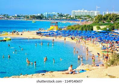 AYIA NAPA, CYPRUS - OCTOBER 26, 2017: View of turquoise water Nero and Pantachou beach in Aiya Napa, Cyprus. Ayia Napa coastline.
