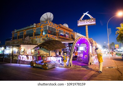 "AYIA NAPA, CYPRUS - SEP.13:  Bedrock restaurant bar is a venue inspired by cartoon ""the flinstones""  on the 13 of september 2013 in Nissi beach, Greek Cyprus."