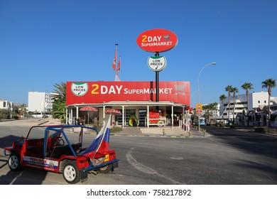 AYIA NAPA, CYPRUS - SEPTEMBER 3, 2017: 2 Day supermarket in Ayia Npa city, Cyprus