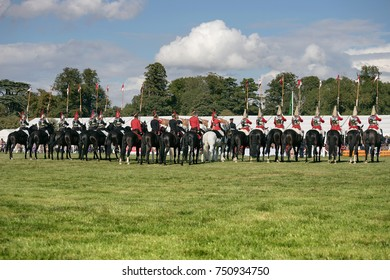 AYLESBURY, BUCKINGHAMSHIRE 31 AUGUST 2017 150th Bucks County Show - members of the Household Cavalry in a line