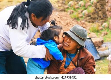 Aymara family - three generations of women