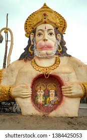 Ayodhya  07, February, 2019:  Large scale  mythological bust of Lord Hanuman exposing Ram and Sita sitting in his heart, as his devotion, installed on  roadside ,Ayodhya , Uttar Pradesh, India,Asia