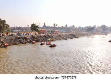 Ayodhya, India - November 17, 2017: Saryu River in Ayodhya, where lord Rama was born. It is believed that the holy river washes away impurities & sins of the town. Thousands of visitors take a bath in