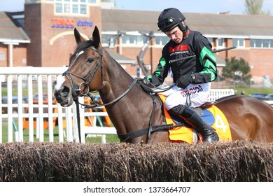 AYR RACECOURSE, AYRSHIRE, SCOTLAND, UK : 13 APRIL 2019 : Molly The Dolly ridden by jockey Harry Skelton looks at a Hurdle before Winning the Novices Champion Handicap Chase at Ayr Races