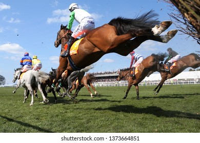 AYR RACECOURSE, AYRSHIRE, SCOTLAND, UK : 13 APRIL 2019 : The excitement and thrill of racehorses landing on the ground after jumping a steeplechase fence in front of a packed Grandstand at Ayr Races