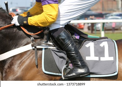 AYR RACECOURSE, AYRSHIRE, SCOTLAND, UK : 12 APRIL 2019 : Close up of Jockeys riding boots and Number 11 saddle cloth whilst racing at Ayr Racecourse
