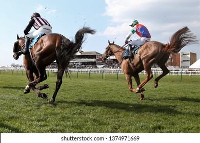 AYR RACECOURSE, AYRSHIRE, SCOTLAND, UK : 12 APRIL 2019 : Racehorses and their jockeys leap to the ground after jumping the last fence in front of packed Grandstands at Ayr Races