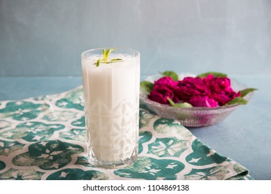 Ayran - liquid drink made from yogurt in ransparent glass cup