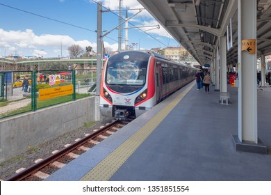 Ayrilikcesme, Kadikoy - March 24, 2019 : Connecting Istanbul Anatolian side and European side (Between Gebze - Halkali), Marmaray suburban train line was opened. Istanbul, TURKEY