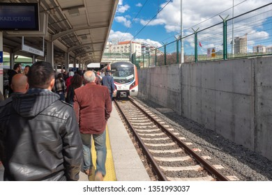 Ayrilikcesme, Kadikoy - March 24, 2019 : Passengers at the Marmaray Train Station on the Anatolian Side. Gebze - Halkalı suburban train line. Istanbul, TURKEY
