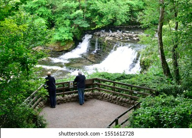 Aysgarth Middle Falls on the River Ure in the Yorkshire Dales with Viewing Deck